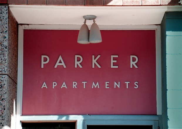 Parker Apartments entrance sign, Minot, ND